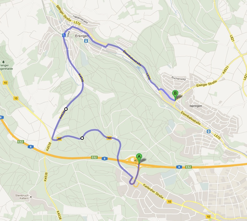GoogleMaps-Wegbeschreibung